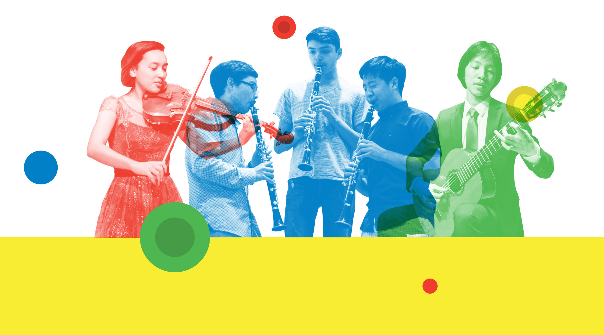 Five teenager music students playing instruments (violin, clarinet, and guitar)