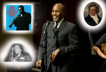 Man smiling at a microphone in the middle of the photo. John Coltrane plays saxophone in the upper right corner. Classical musician portrait in the upper right corner. Man playing saxophone in the lower left corner.